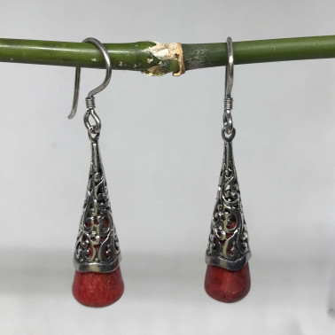 ER 14179 CR-BALI 925 STERLING SILVER EARRINGS WITH CORAL