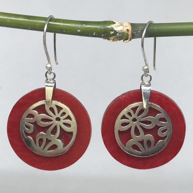 ER 09594 CR-BALI 925 STERLING SILVER EARRINGS WITH CORAL