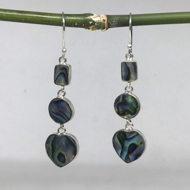 ER 14622 AB-BALI 925 STERLING SILVER EARRINGS WITH ABALONE