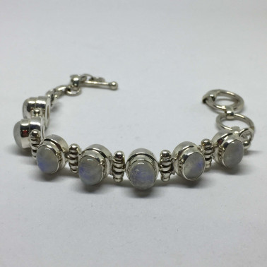 BR 12882-1 PC OF HAND CARVED 925 BALI SILVER BRACELET WITH RAINBOW MOONSTONE