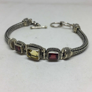 BR 11641 C-1 PC OF HAND CARVED 925 BALI SILVER BRACELET WITH MIXSTONE