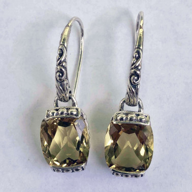 ER 14028 LQ-BALI SILVER EARRINGS WITH LEMON QUARTZ