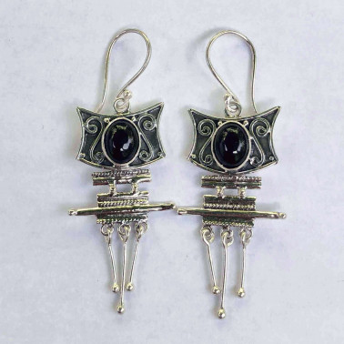 ER 04215 OX-BALI SILVER EARRINGS WITH ONYX