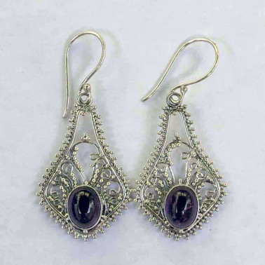 ER 10075 AM-BALI SILVER EARRINGS WITH AMETHYST