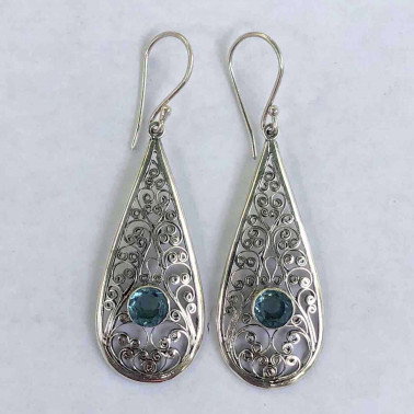 ER 11558 B-BT-BALI SILVER EARRINGS WITH BLUE TOPAZ