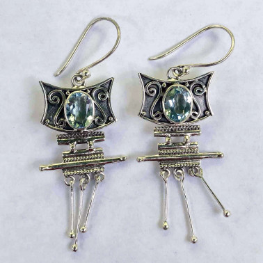 ER 04215 BT-BALI SILVER EARRINGS WITH BLUE TOPAZ