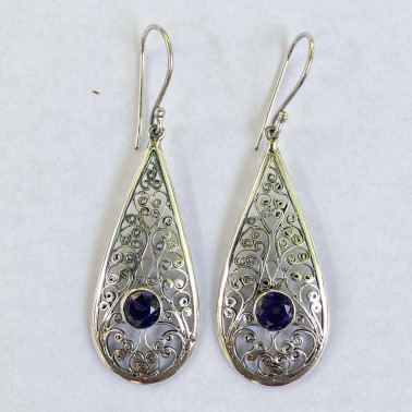 ER 11558 B-AM-BALI SILVER EARRINGS WITH AMETHYST
