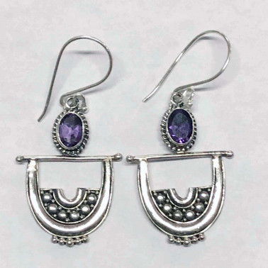 ER 04221 AM-BALI SILVER EARRINGS WITH AMETHYST