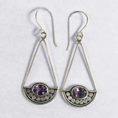 ER 14170 A-AM-BALI SILVER EARRINGS WITH AMETHYST