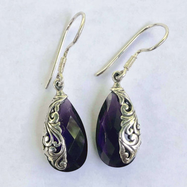ER 12248 AM-BALI SILVER EARRINGS WITH AMETHYST