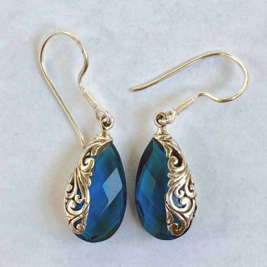ER 12248 BT-BALI SILVER EARRINGS WITH BLUE TOPAZ