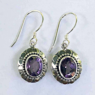 ER 11433 AM-BALI SILVER EARRINGS WITH AMETHYST