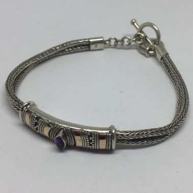 BR 13816-1 PC OF HAND CARVED 925 BALI SILVER BRACELET WITH AMETHYST