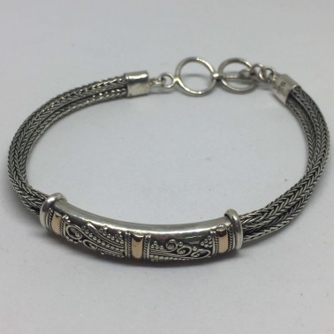 BR 12080 C-1 PC OF HAND CARVED 925 BALI SILVER BRACELET WITH GOLD