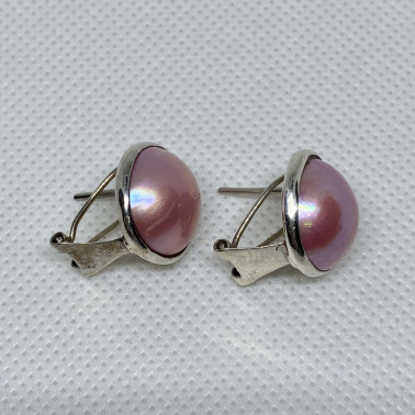 ER 10337 B-PPL-BALI SILVER EARRINGS WITH PINK MABE PEARL