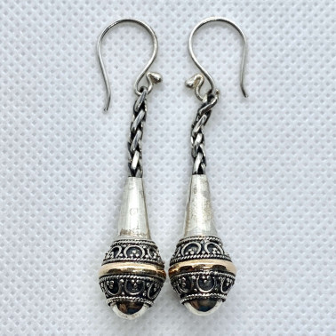 ER 14491-BALI SILVER EARRINGS WITH 18KT GOLD ACCENT