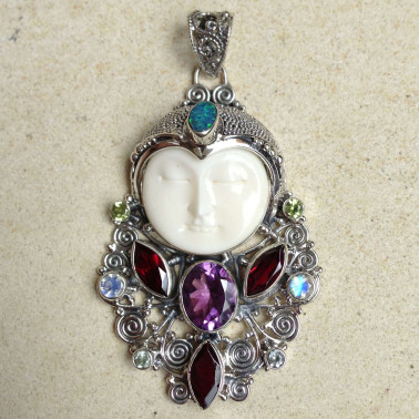 PD 10746-1 pc of 925 sterling silver bone face pendant with gemstones