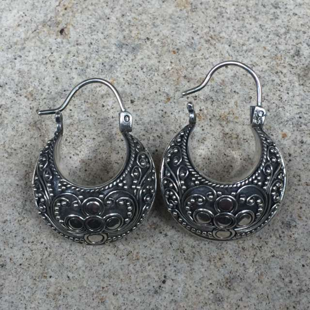 HANDMADE 925 BALI SILVER FILIGREE EARRINGS WITH SILVER