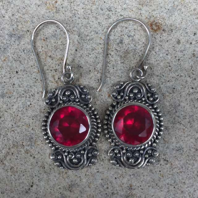 (HANDMADE 925 BALI SILVER EARRINGS WITH SYNTHETIC RUBY)