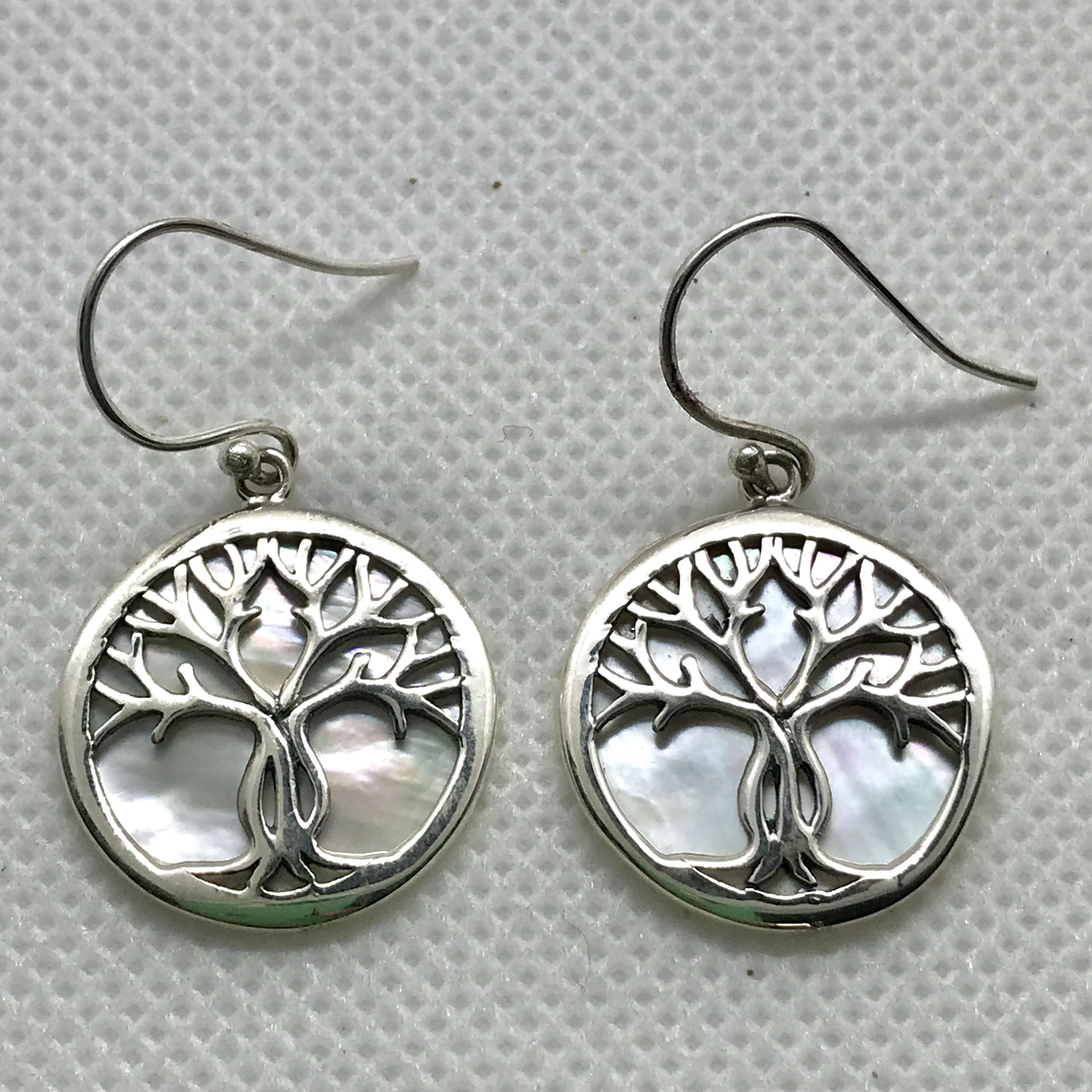 (BALI 925 STERLING SILVER TREE OF LIFE EARRINGS WITH MOP)
