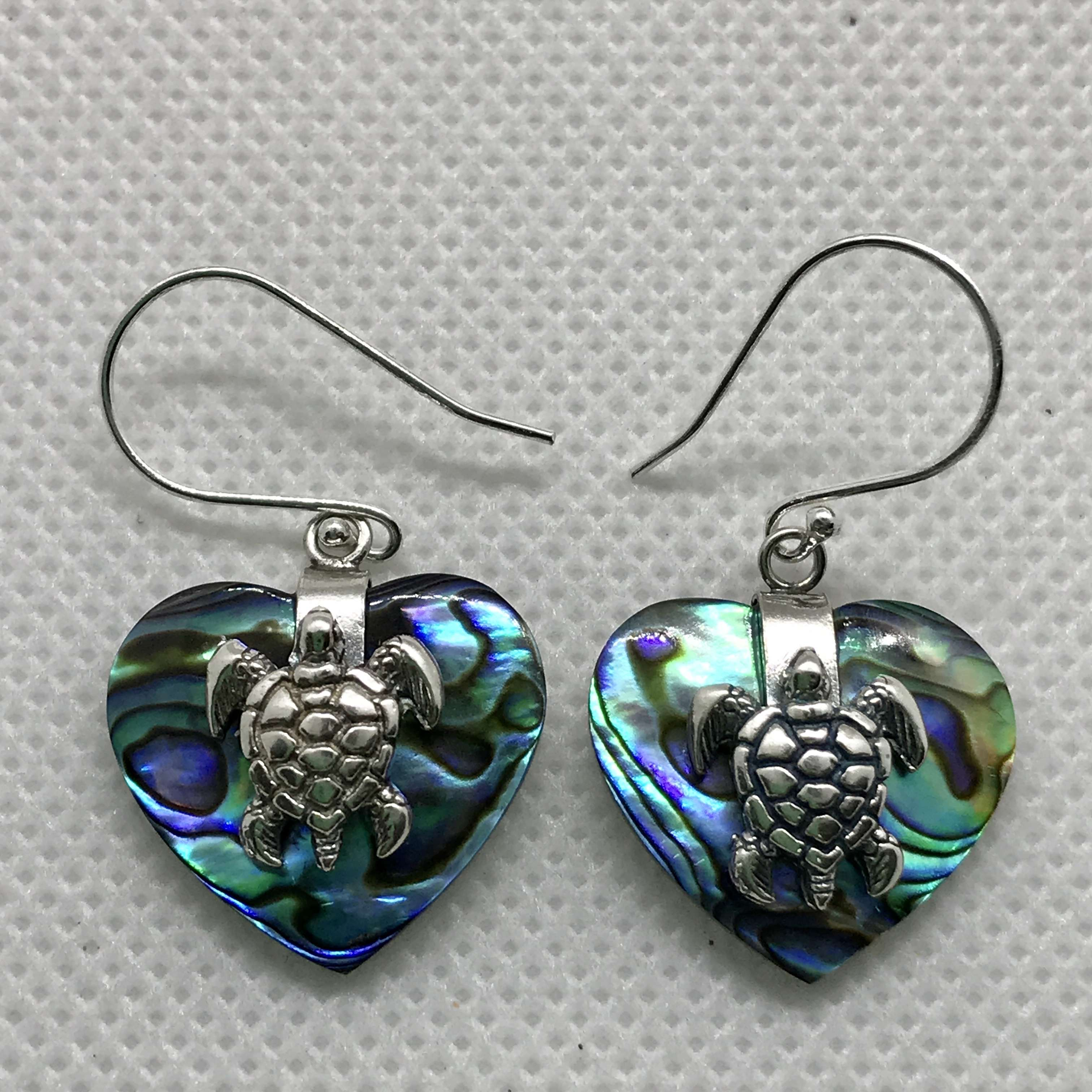 (BALI 925 STERLING TURTLE HEART SILVER EARRINGS WITH ABALONE)