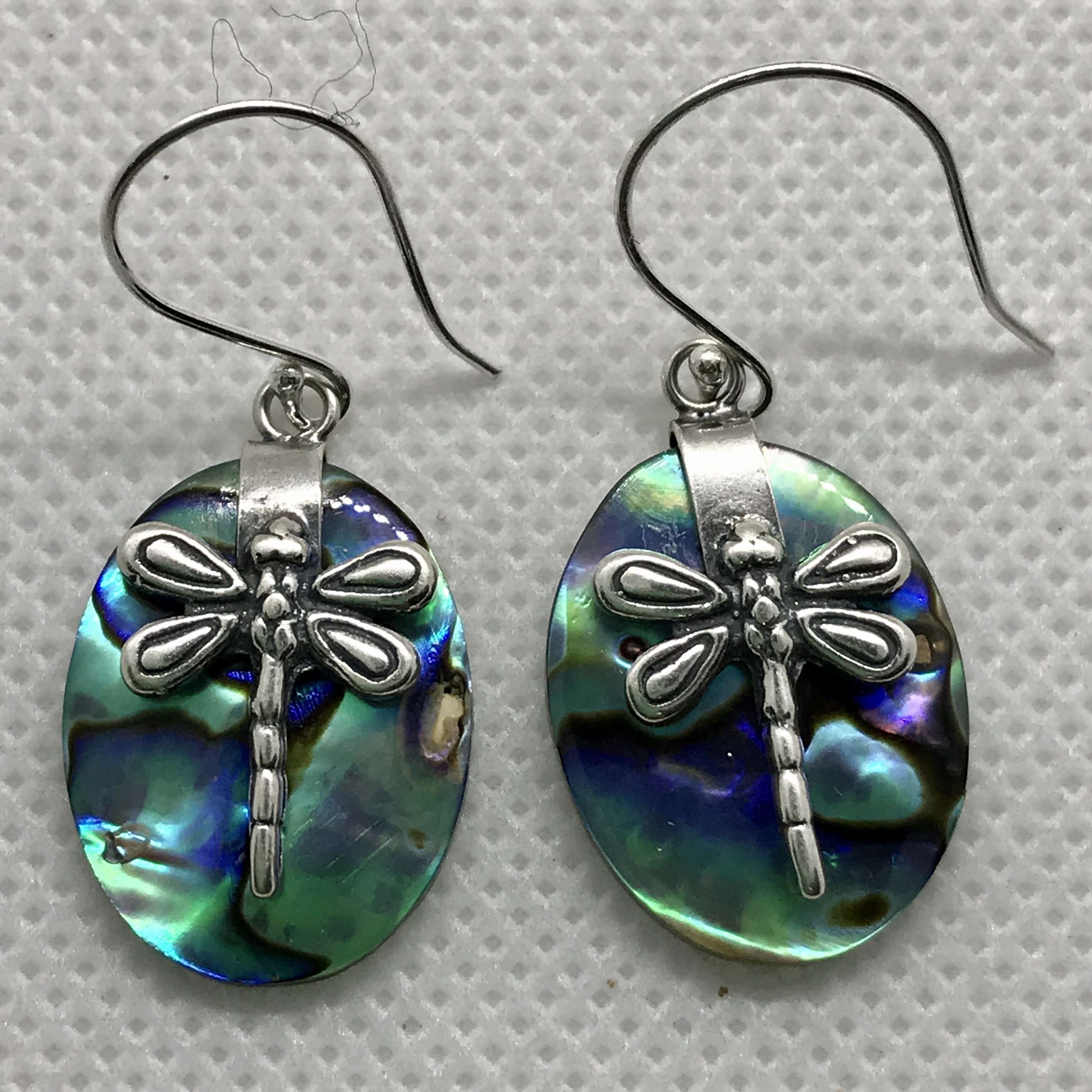 (BALI 925 STERLING SILVER DRAGONFLY EARRINGS WITH ABALONE)
