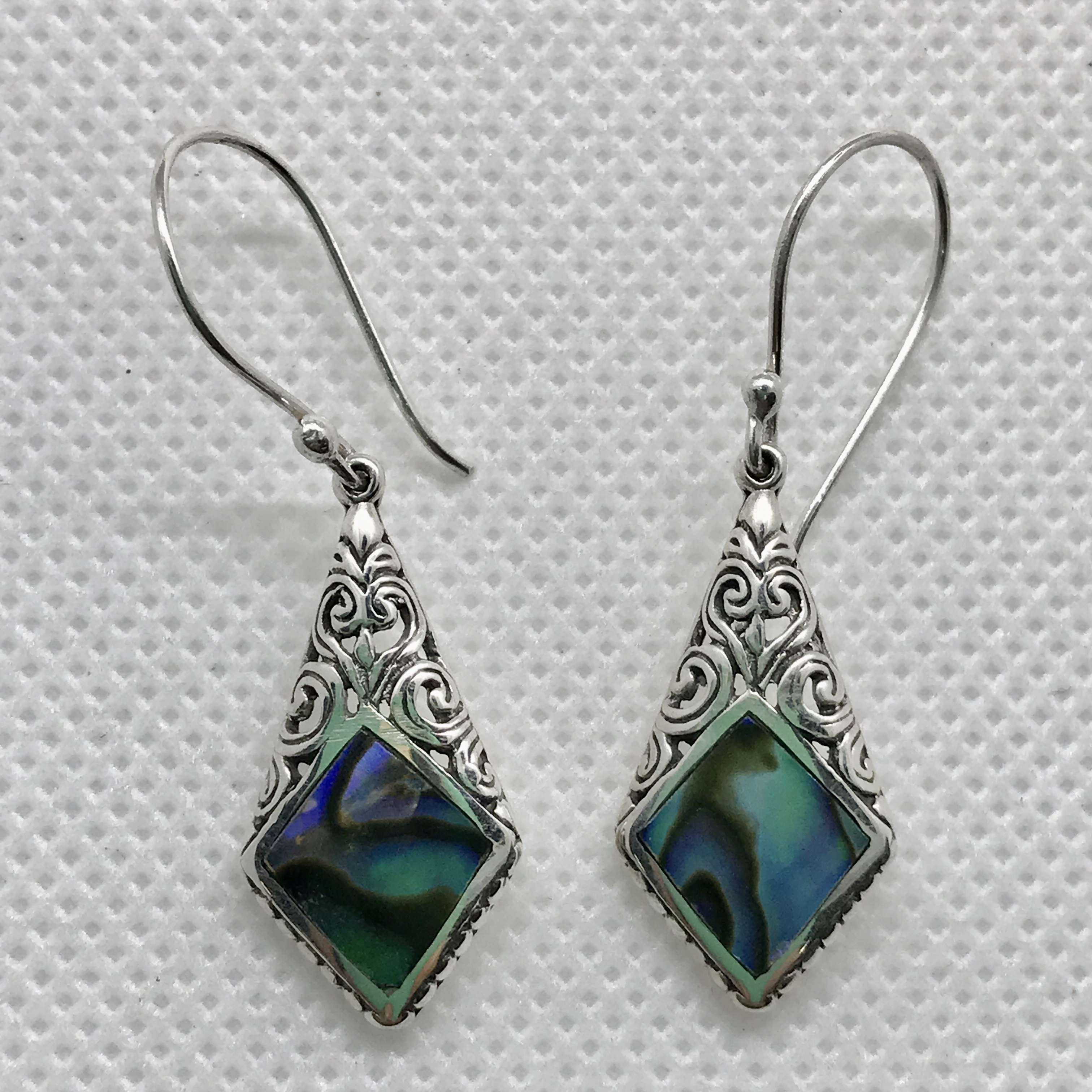 (UNIQUE 925 BALI SILVER EARRINGS WITH ABALONE)