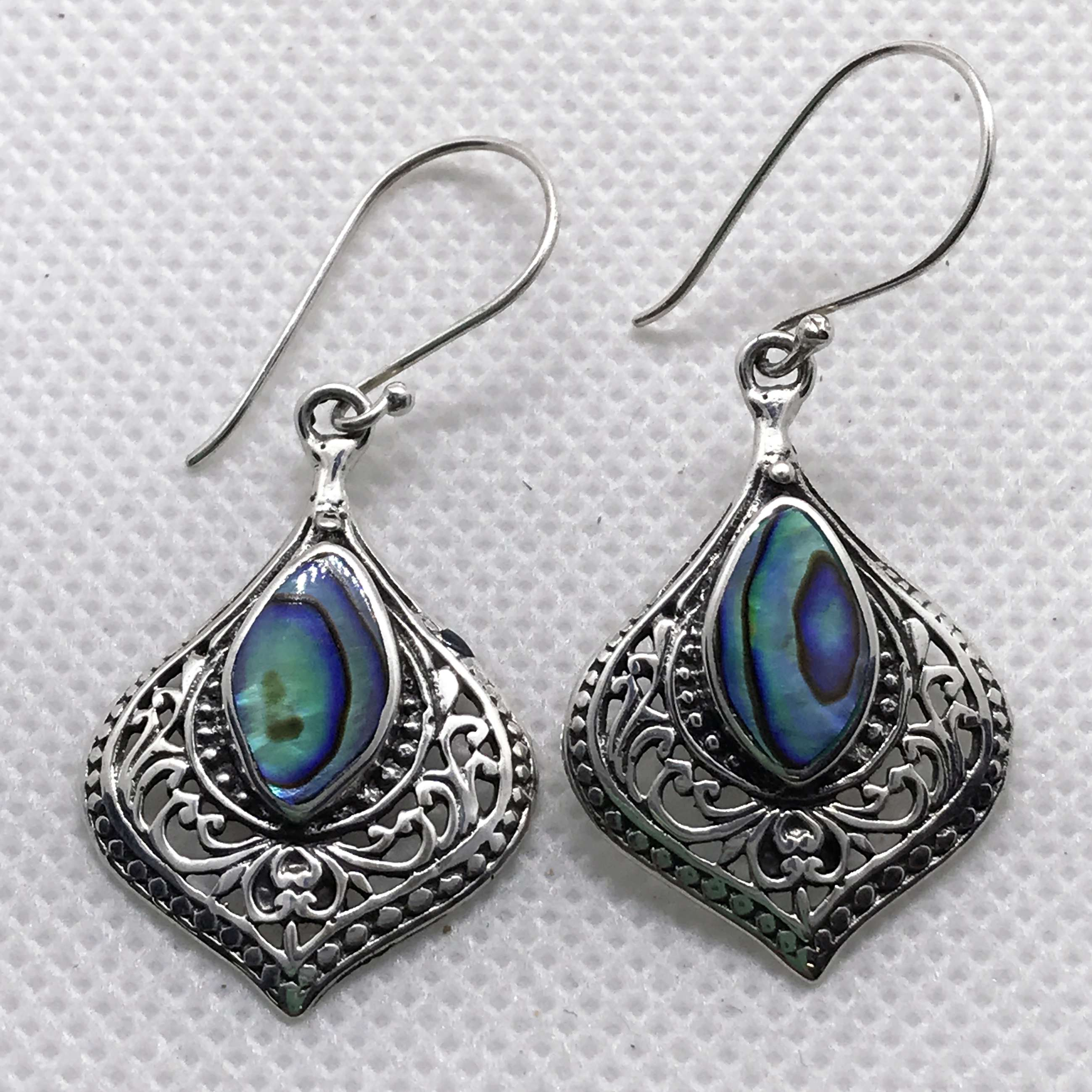 BALI 925 STERLING SILVER EARRINGS WITH ABALONE