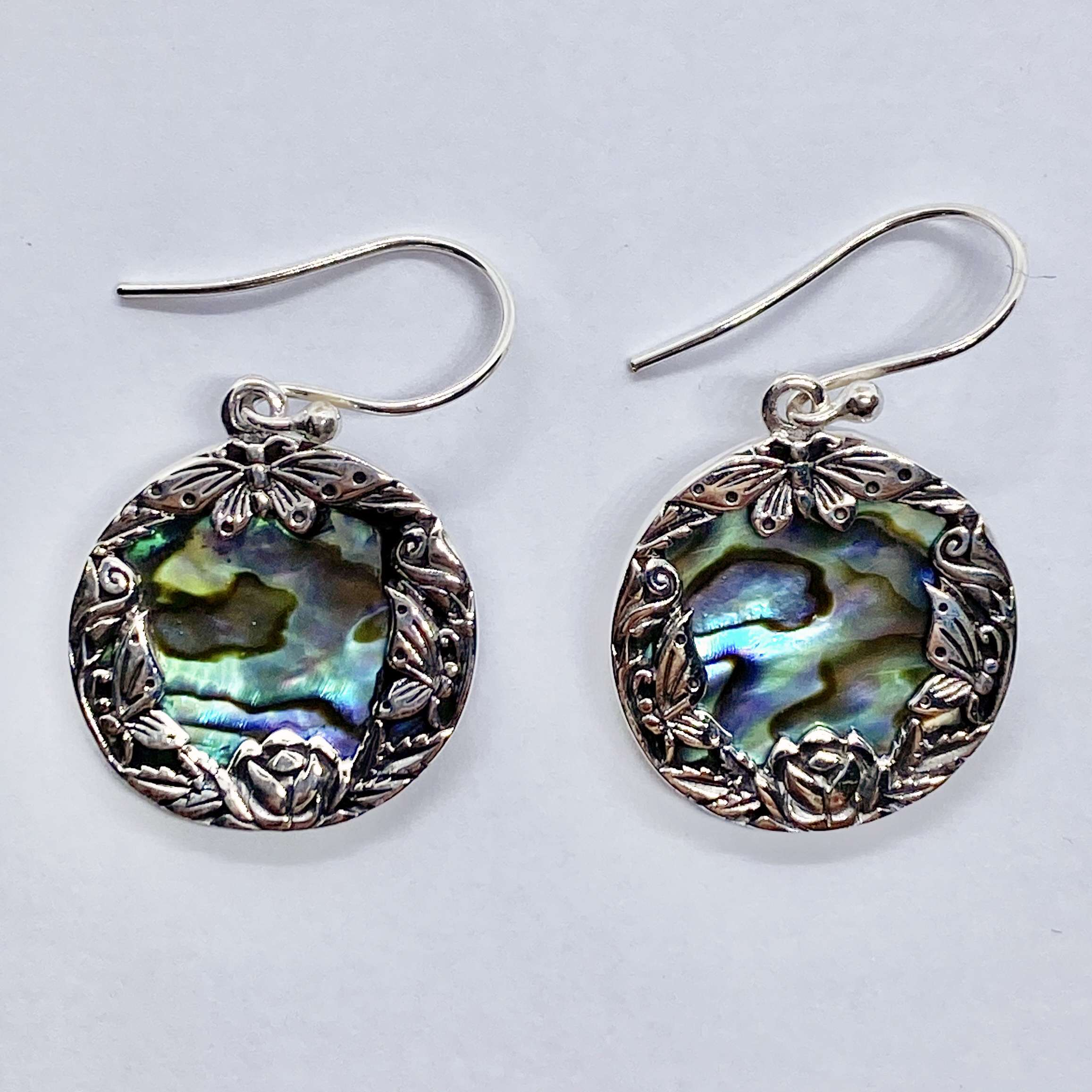 (HANDMADE BALI 925 STERLING SILVER BUTTERFLY EARRINGS WITH ABALONE)