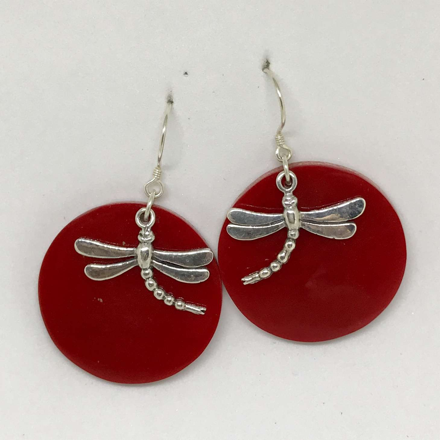 (925 BALI SILVER DRAGONFLY EARRINGS WITH RED CORAL)