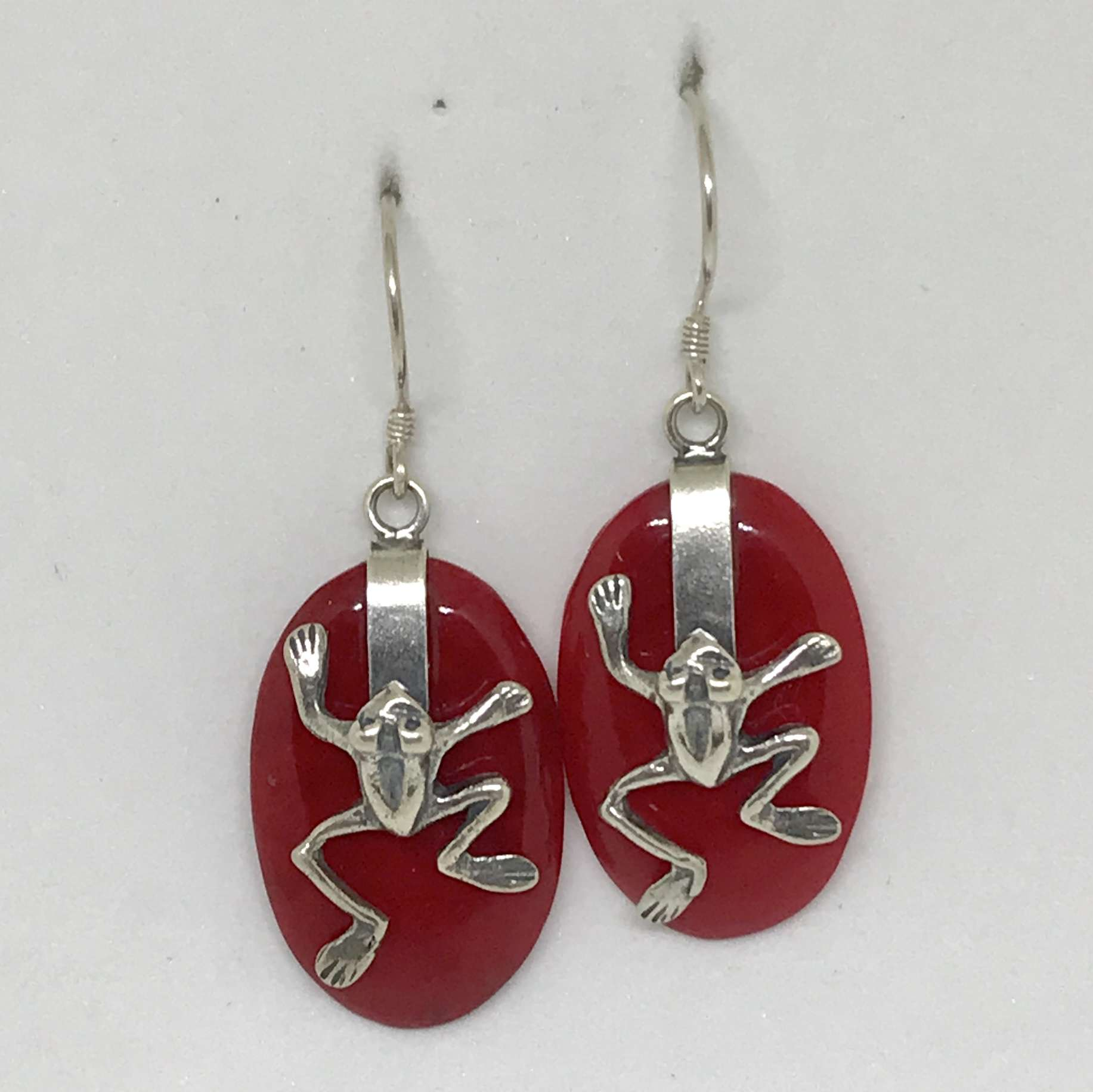 BALI SILVER EARRINGS WITH RED CORAL