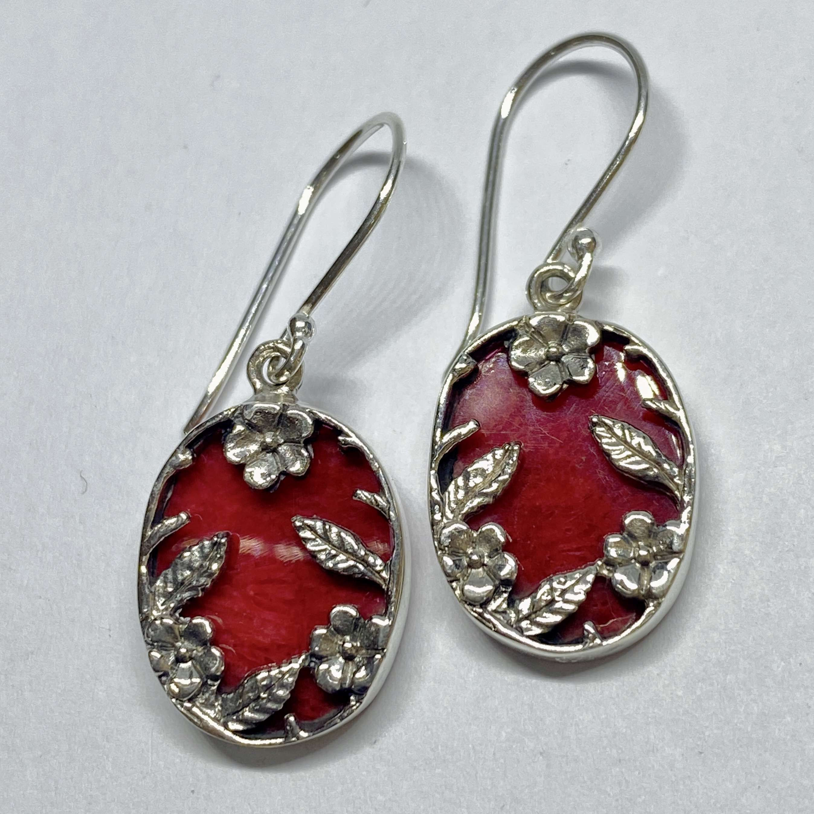 BALI 925 STERLING SILVER BIRD EARRINGS WITH CORAL