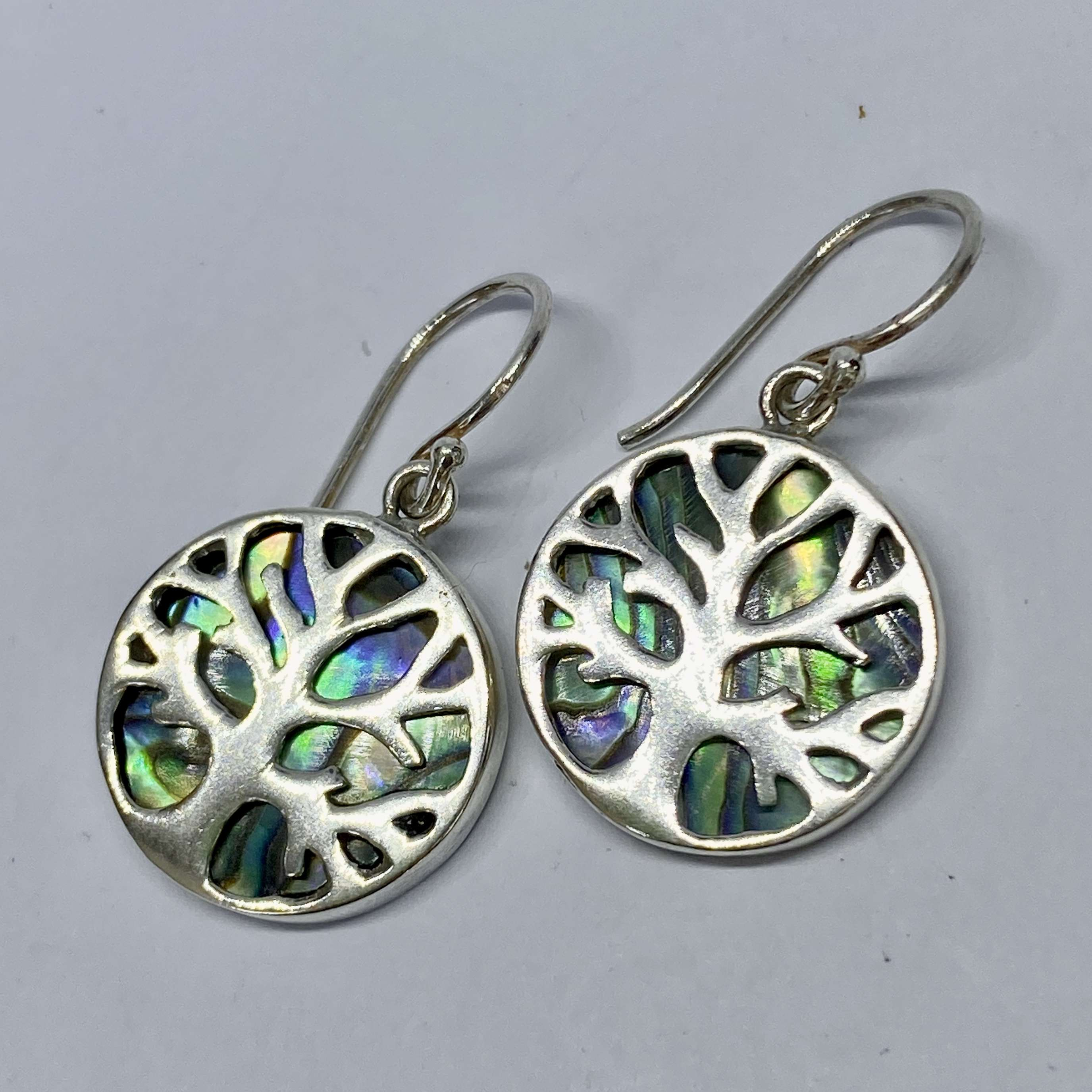(BALI 925 STERLING SILVER TREE OF LIFE EARRINGS WITH ABALONE)