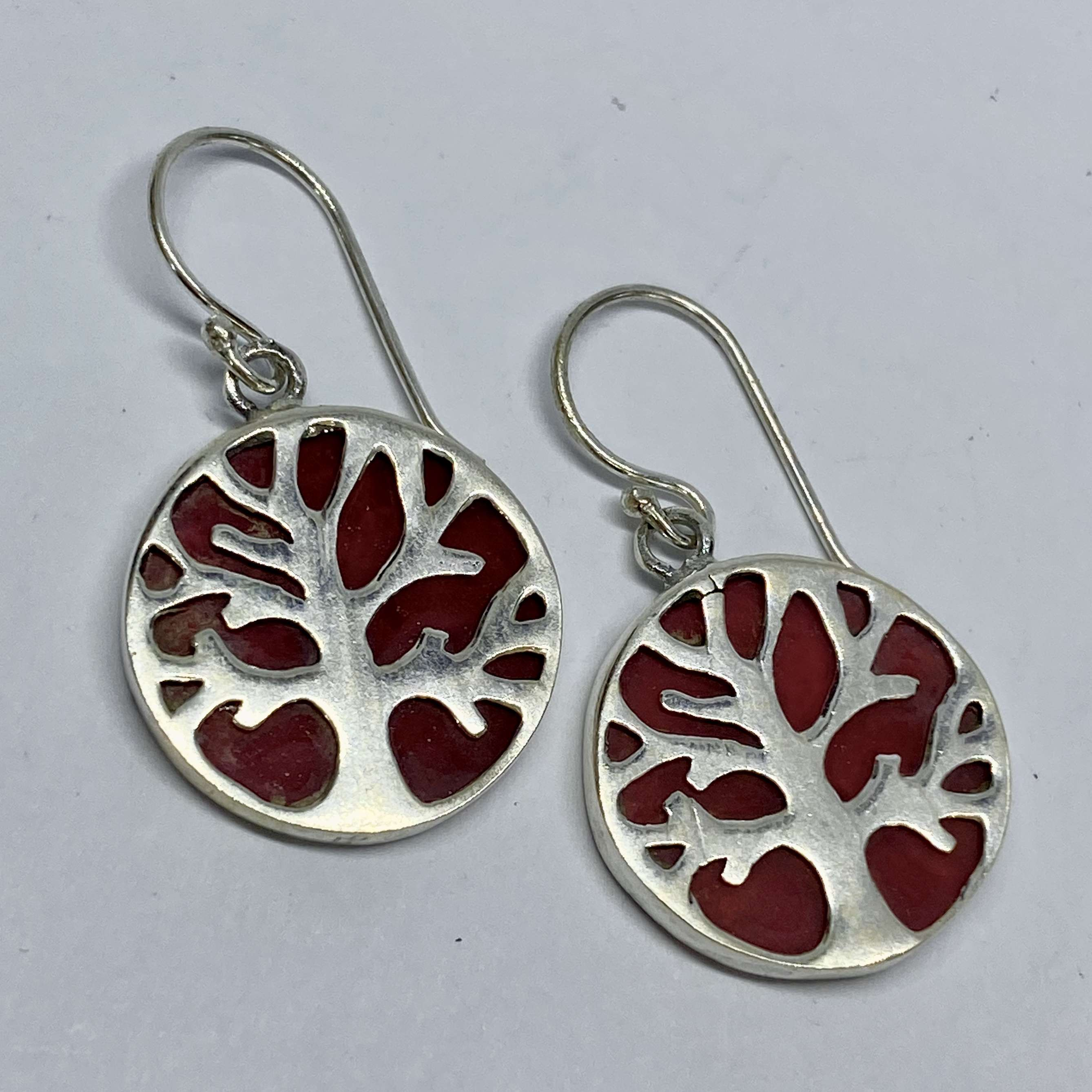 (BALI 925 STERLING SILVER TREE OF LIFE EARRINGS WITH CORAL)