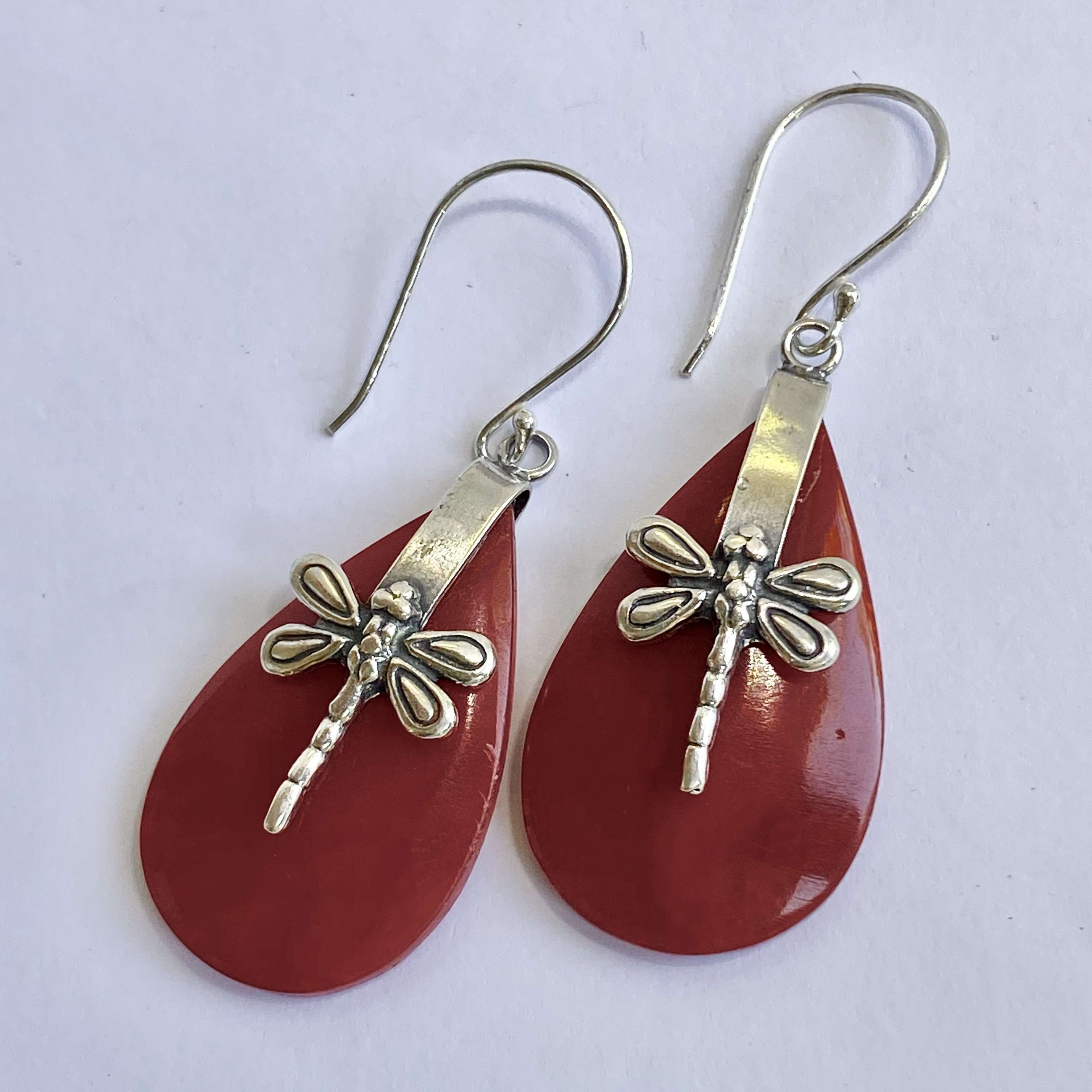 (HANDMADE 925 BALI SILVER DRAGONFLY EARRINGS WITH CORAL)
