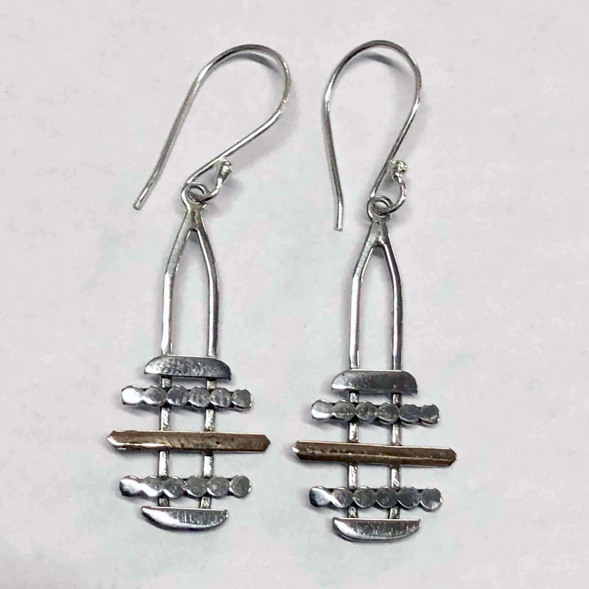 HANDMADE 925 BALI SILVER EARRINGS WITH 18KT GOLD ACCENT