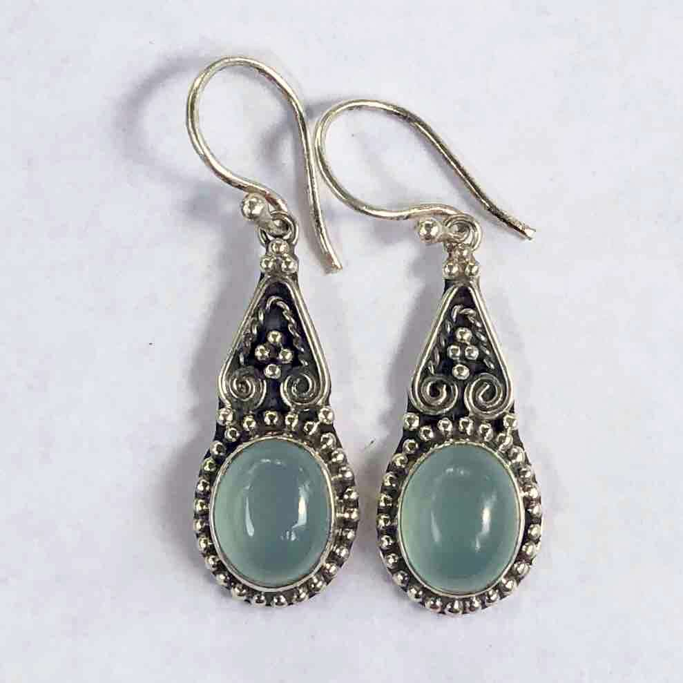 HANDMADE 925 BALI SILVER EARRINGS WITH BLUE CALSEDONI