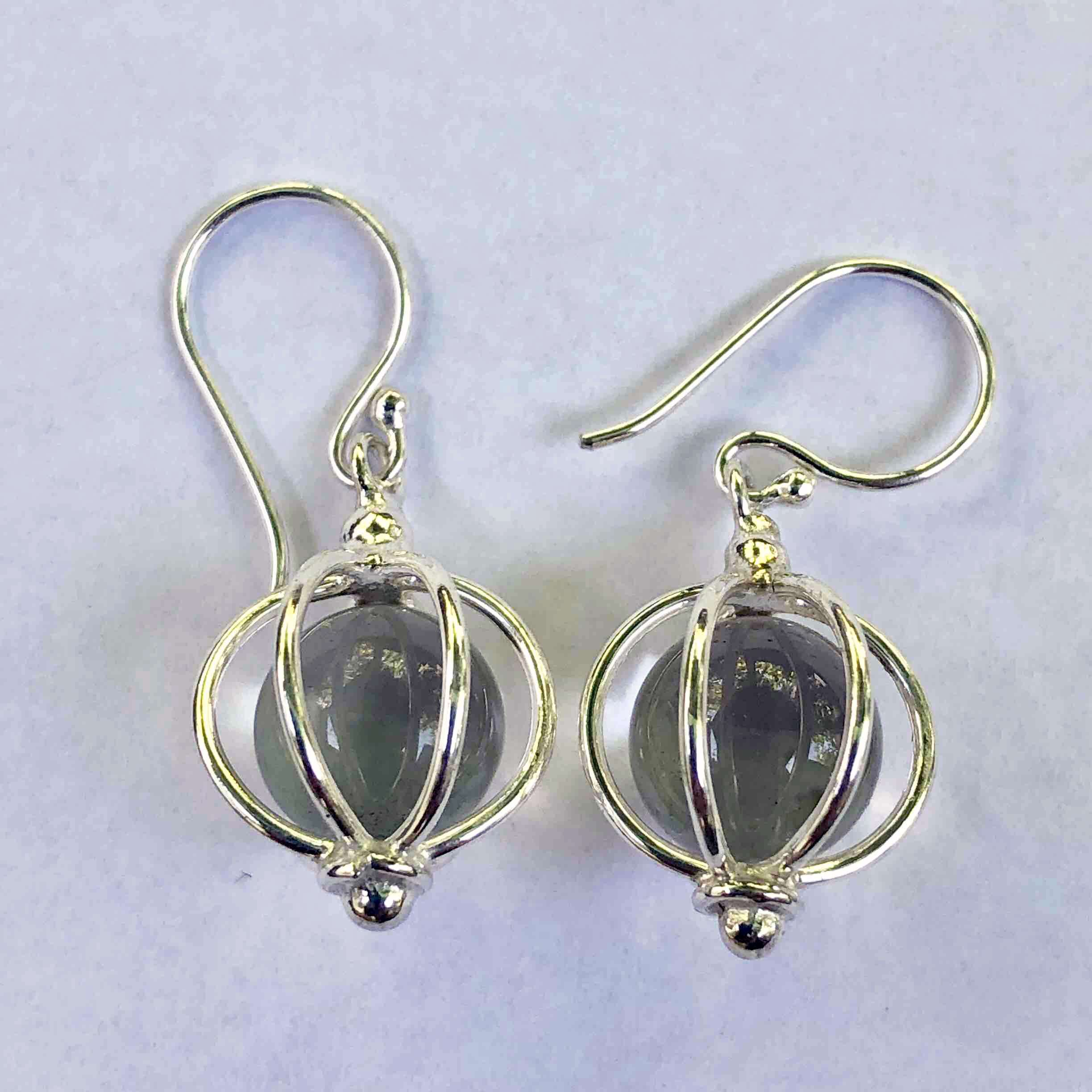 HANDMADE 925 BALI SILVER EARRINGS WITH MOONSTONE