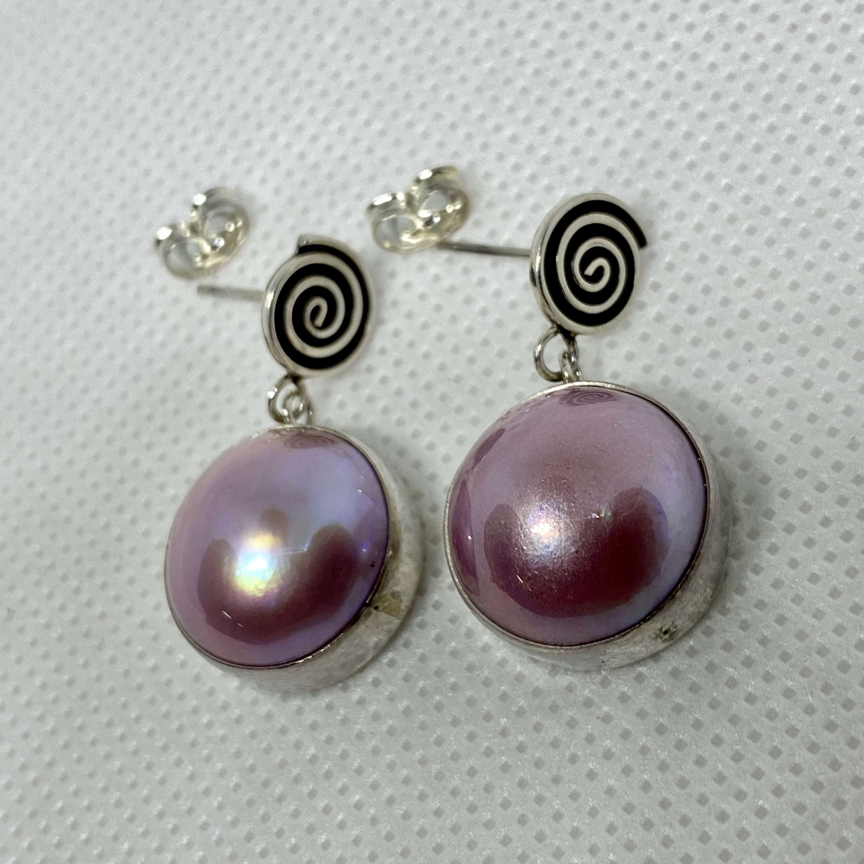 BALI SILVER EARRINGS WITH PINK MABE PEARL