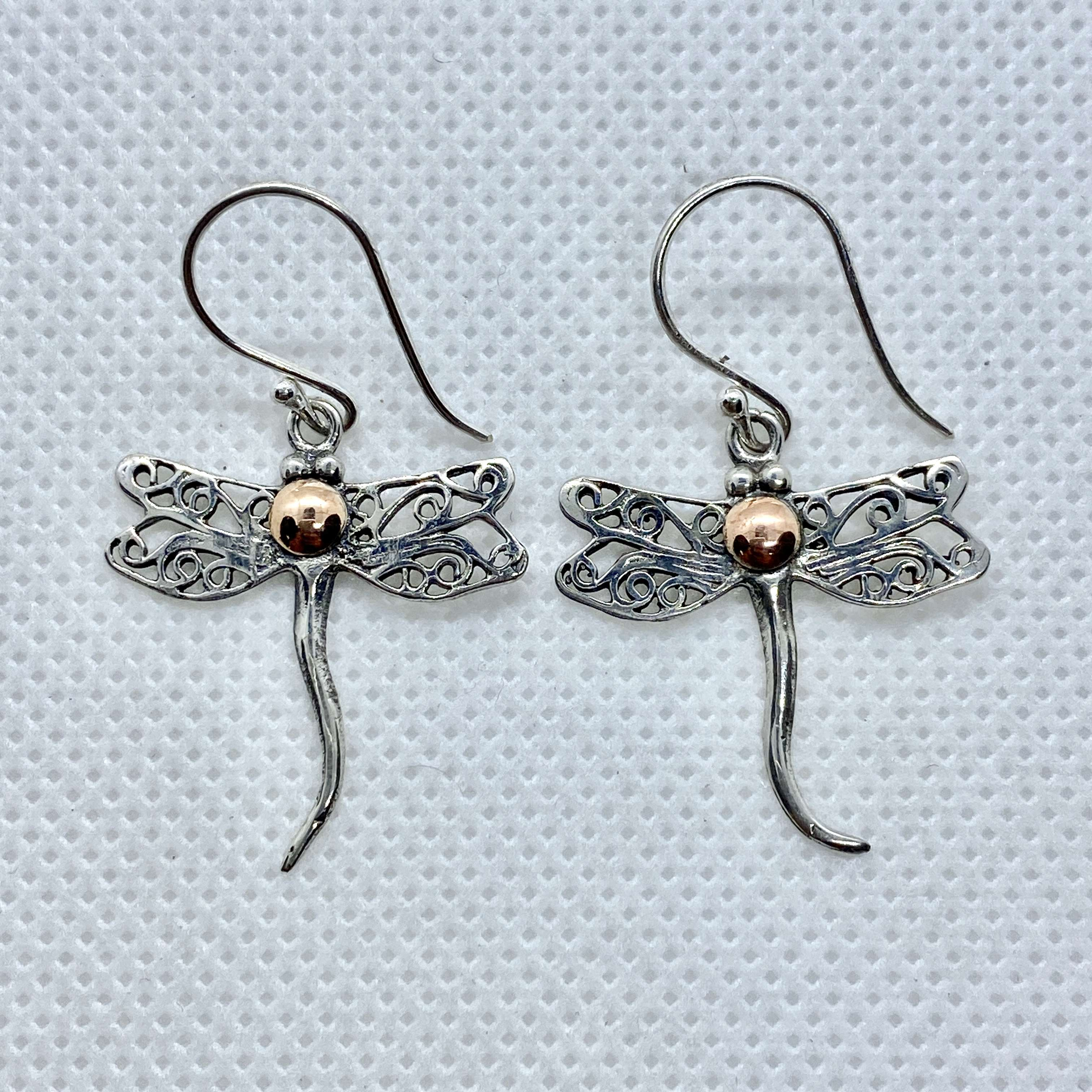 (UNIQUE 925 BALI SILVER DRAGONFLY EARRINGS WITH 18 KT GOLD ACCENT)