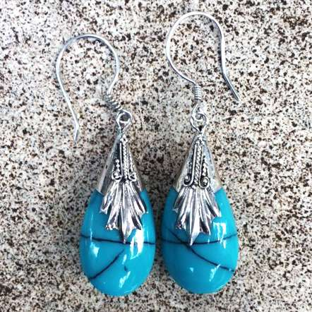 (HANDMADE 925 BALI SILVER EARRINGS WITH TURQUOISE)
