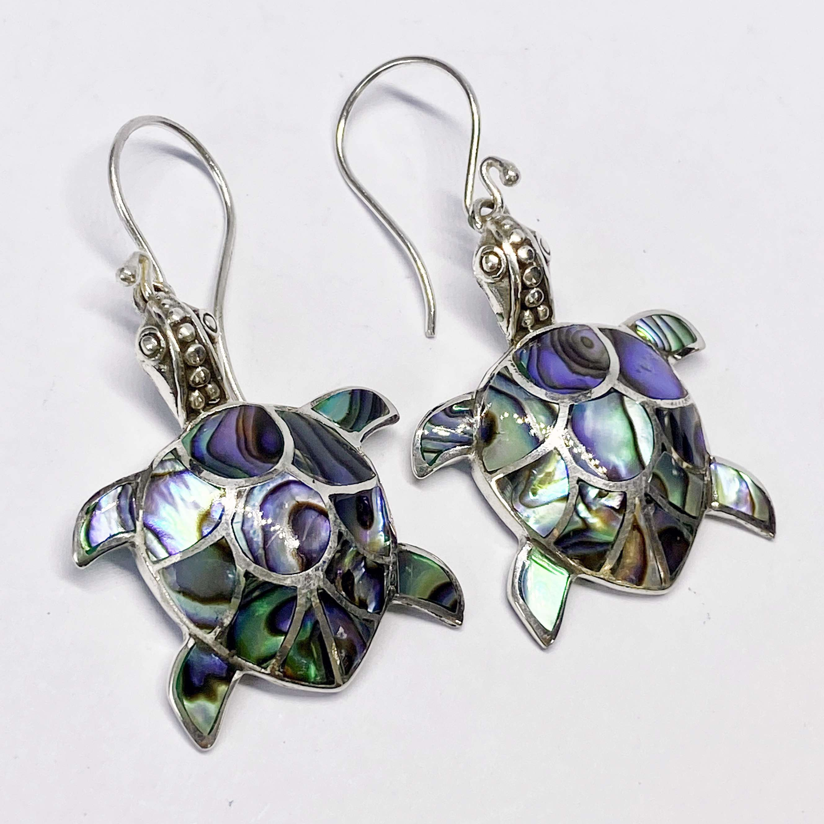 (HANDMADE 925 BALI SILVER TURTLE EARRINGS WITH ABALONE)