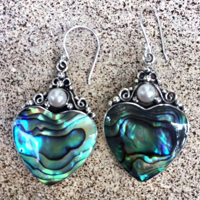 (HANDMADE 925 BALI SILVER EARRINGS WITH ABALONE SHELL)