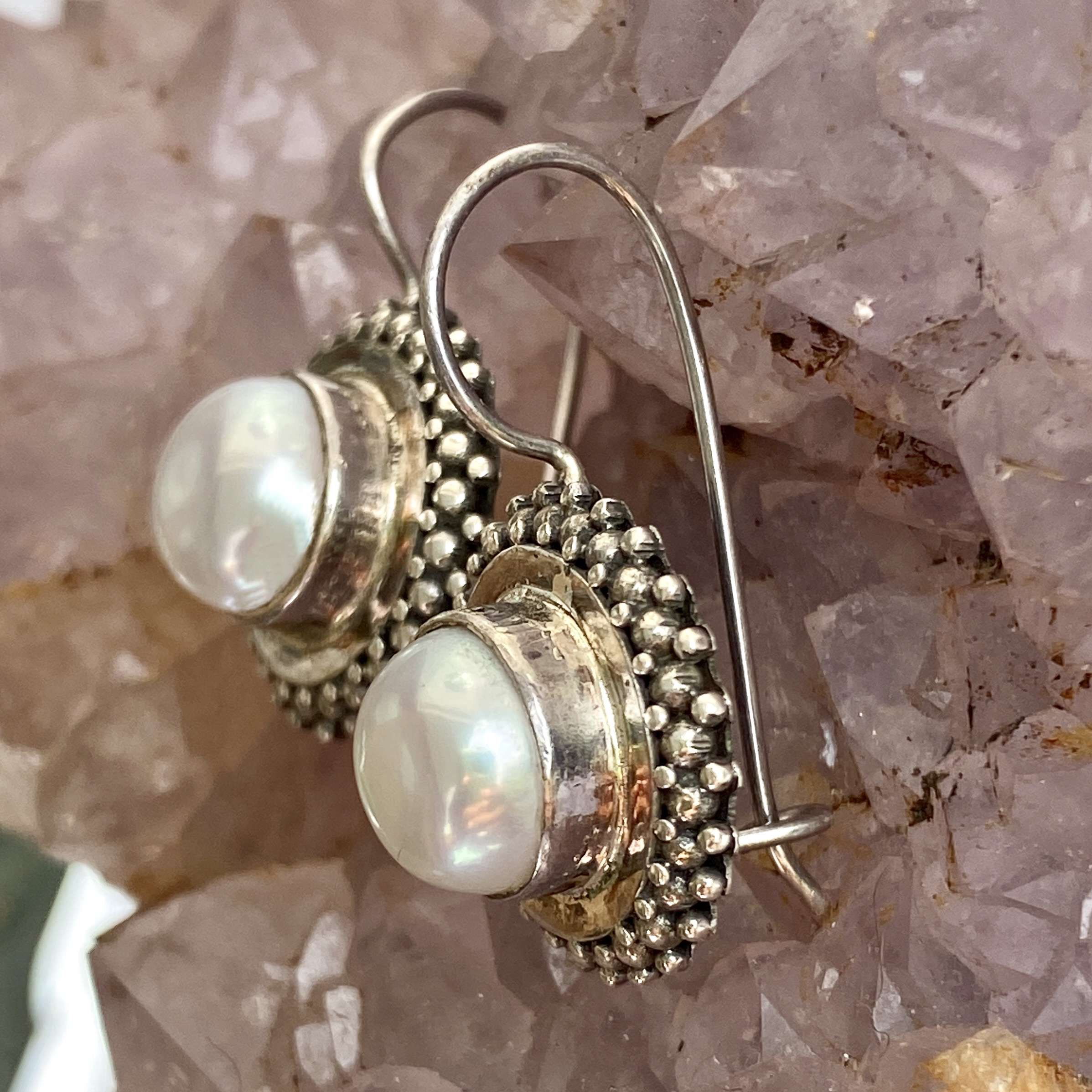 (HANDMADE 925 BALI SILVER GRANULATED EARRINGS WITH PEARL)