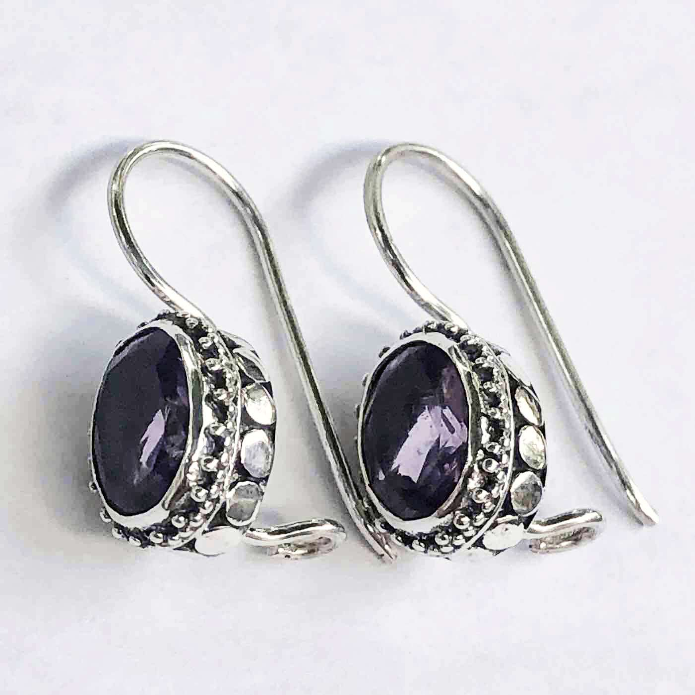 (UNIQUE 925 BALI SILVER DOT EARRINGS WITH AMETHYST)