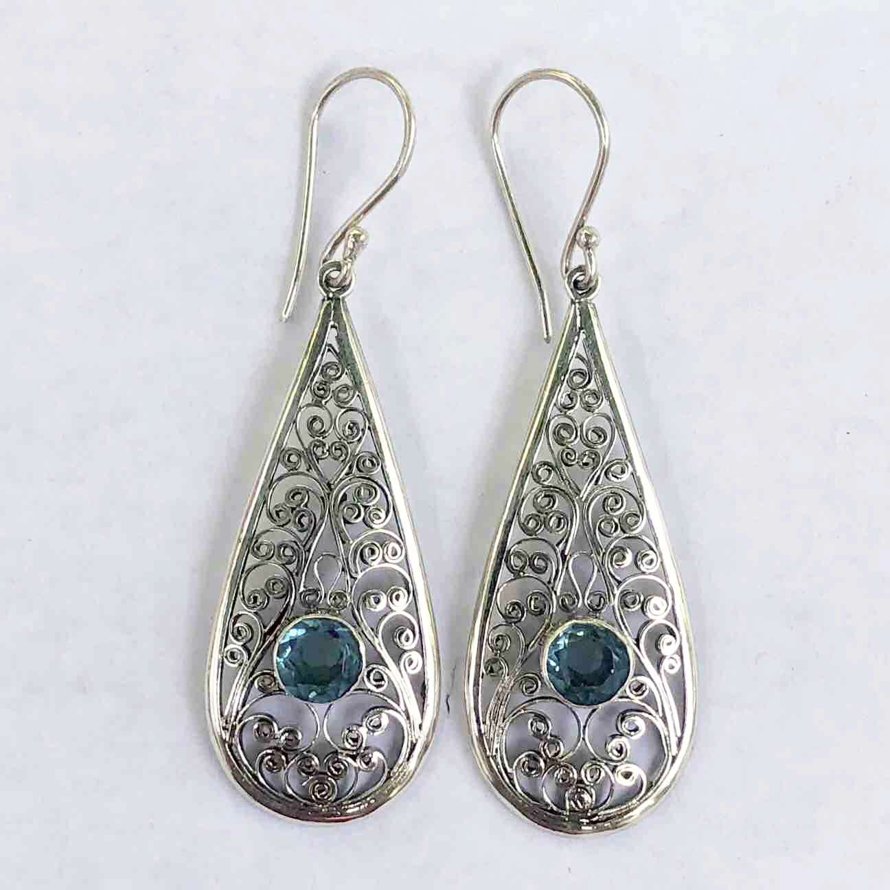 (UNIQUE 925 BALI SILVER FILIGREE EARRINGS WITH BLUE TOPAZ)