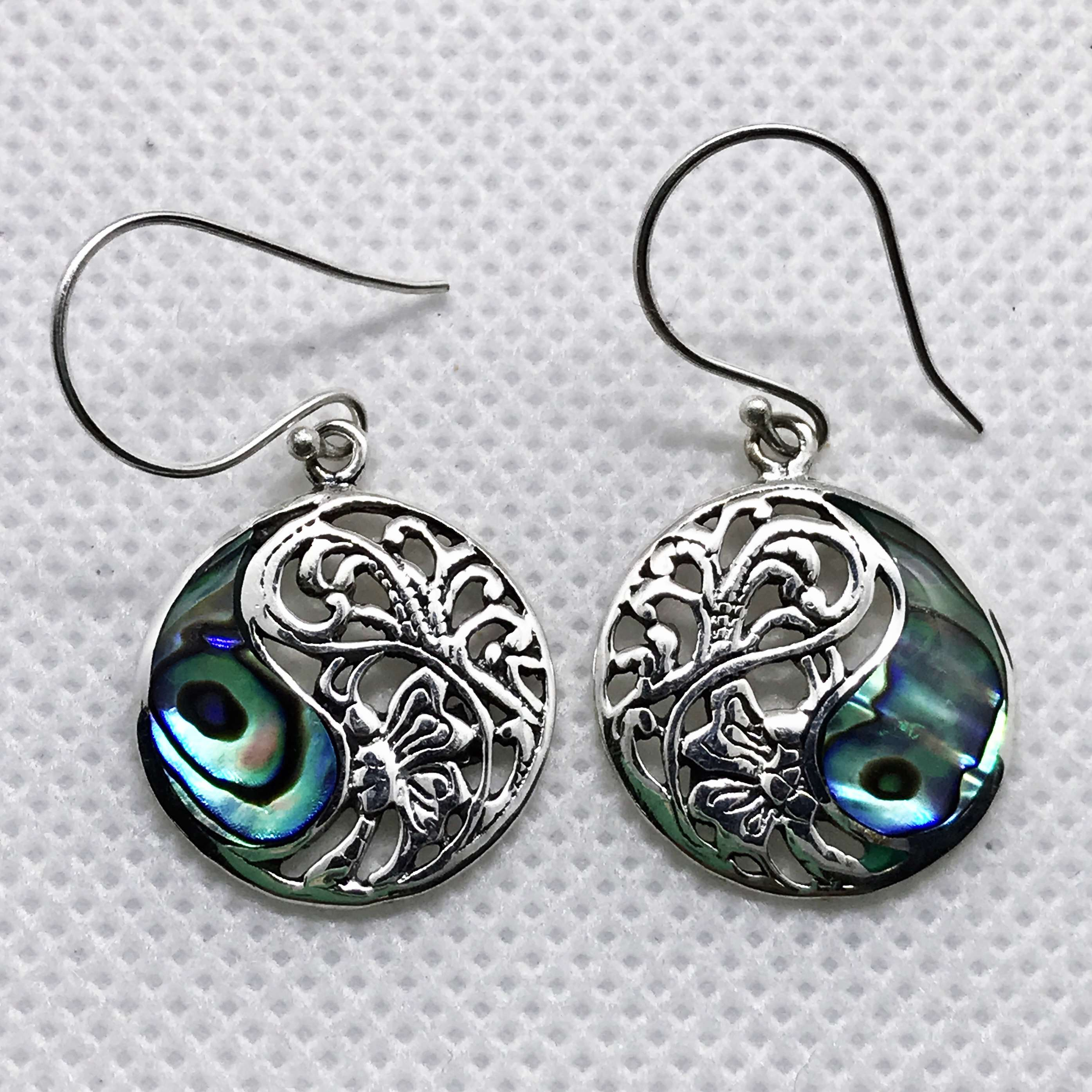 (BALI 925 STERLING SILVER BUTTERFLY EARRINGS WITH ABALONE)