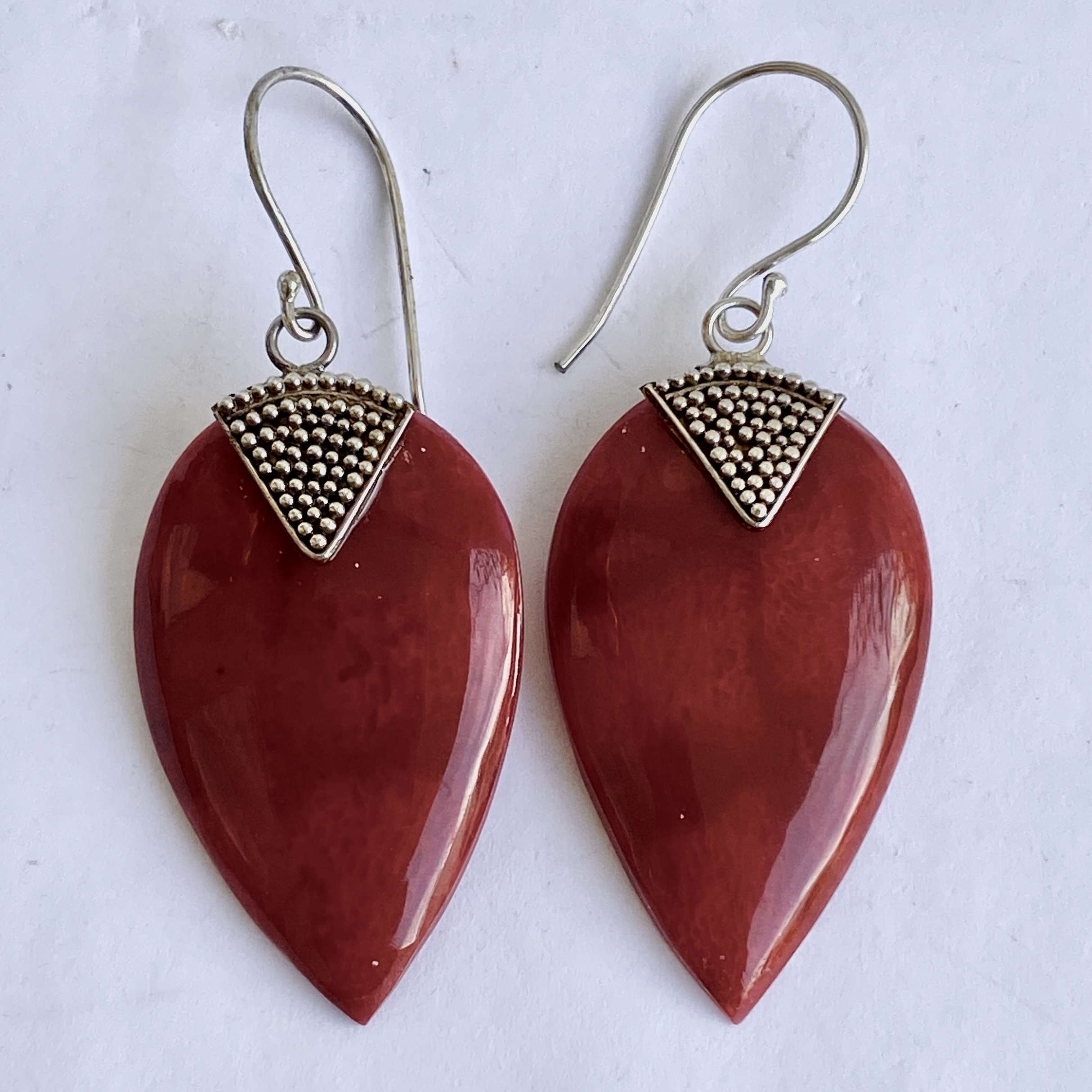 (925 BALI SILVER EARRINGS WITH CORAL)