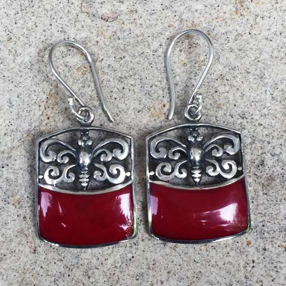 (925 BALI SILVER BUTTERFLY EARRINGS WITH CORAL)
