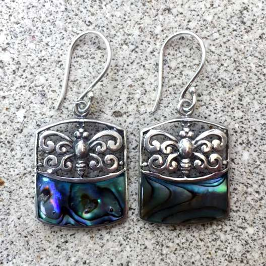 (925 BALI SILVER BUTTERFLY EARRINGS WITH ABALONE SHELL)